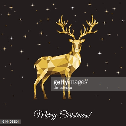 Xmas greeting card with gold  deer  on black background.