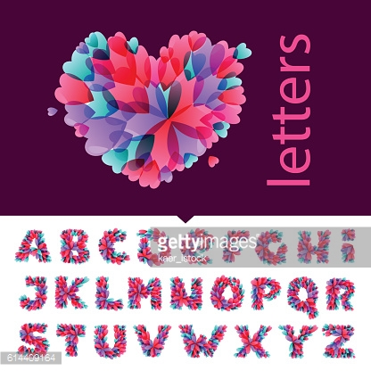 Alphabet icons formed by hearts.