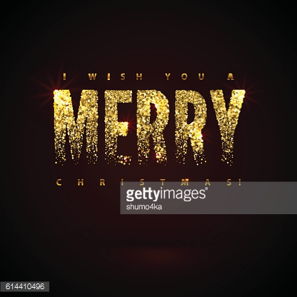 I Wish You a Merry Christmas Card Gold Sparkles on