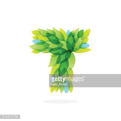 T letter icon formed by watercolor fresh green leaves.