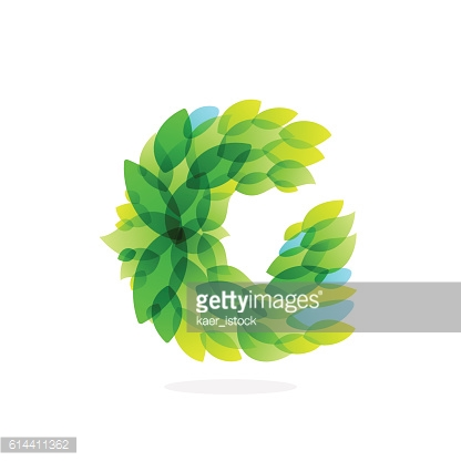 G letter icon formed by watercolor fresh green leaves.