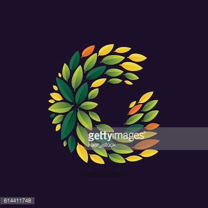 G letter icon formed by green and autumn leaves.