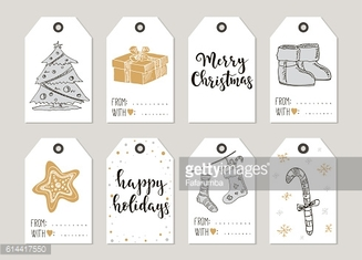 Merry Christmas and Happy New Year vintage gift tags cards