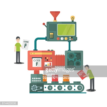 Working machine Illustration of a coupon discount program