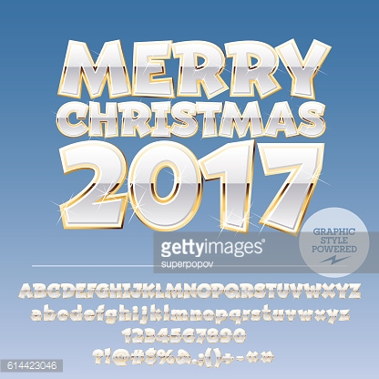 Vector white Merry Christmas 2017 greeting card