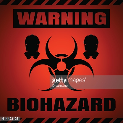 Vector poster of biohazard warning on the red gradient background.