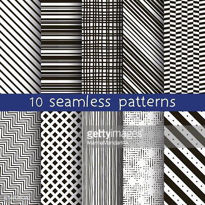 10 striped vector seamless patterns.