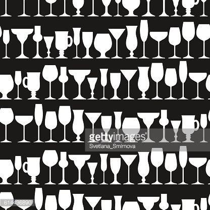Set of  glasses.Silhouettes. Seamless pattern.