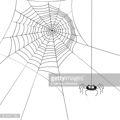 Halloween cute spider and web.