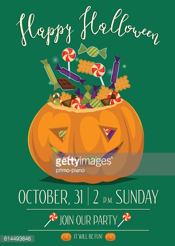 Halloween party poster with scary pumpkin