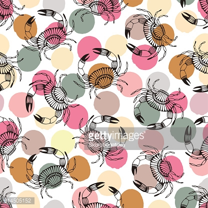 Seamless pattern with stylized crabs.