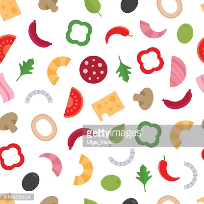 Seamless pattern with the ingredients for pizza.Food background.