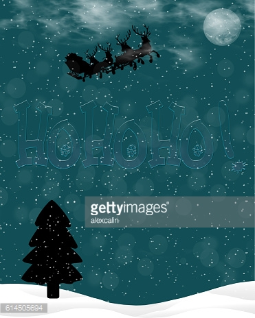 Christmas night and Santa Claus with reindeer in the sky