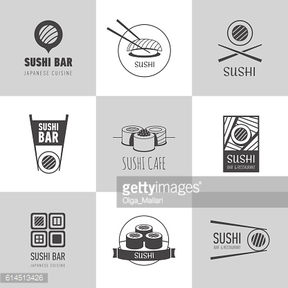 Sushi logotypes vector set.