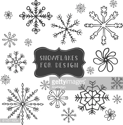 Hand drawn snow flakes