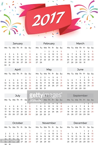 Vector Calendar Celebration template with week starting on Monday