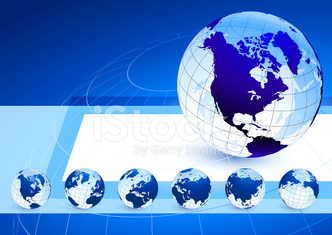 Globes on blue internet background