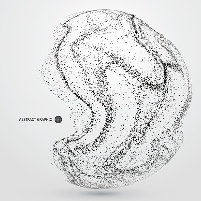 Irregular abstract graphics, dynamic particle composition.
