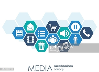 Media mechanism concept. Growth abstract background with integrated meta balls