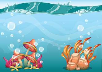 cartoon vector underwater background with separated layers for game art
