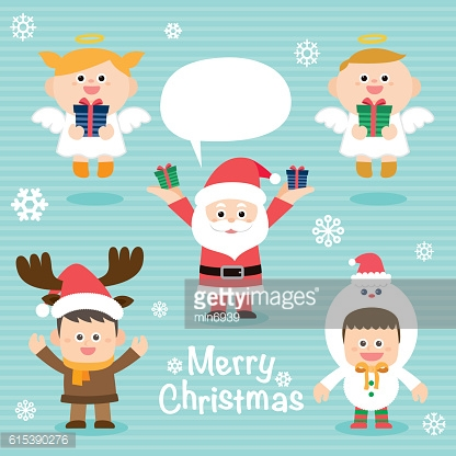 Illustration of cute kids wearing Christmas. vector