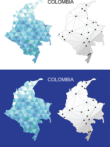 Colombia map in geometric polygonal style. Abstract gems triangle.