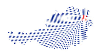Austria map radial dot pattern
