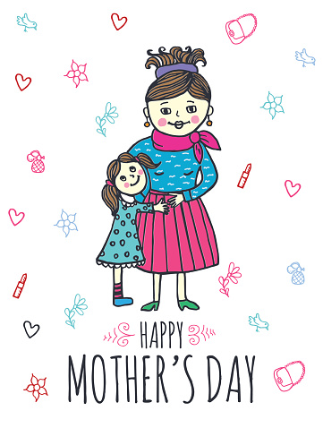 Happy Mother's day card with mum and daughter