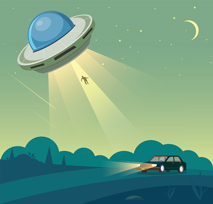 UFO abducts human from car