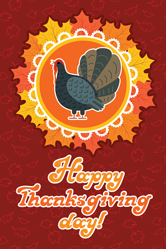 Vector thanksgiving card with maple leaf, turkey bird. Flat style