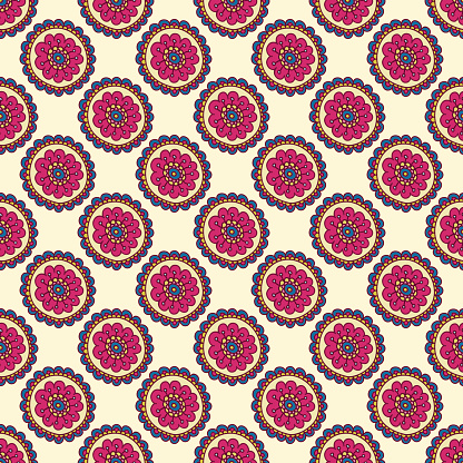 Colorful doodle seamless pattern. Abstract flower background. Hand drawn wallpaper.