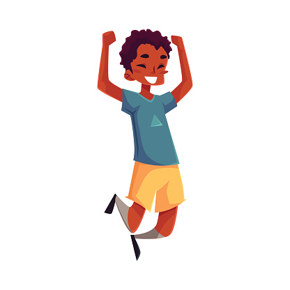 Little black boy jumping from happines