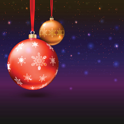 Greeting card with Christmas balls and bright background
