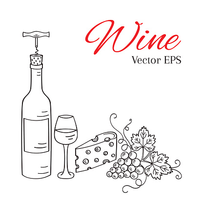 Wine bottle, glass, grapes, cheese, corkscrew vector illustration.