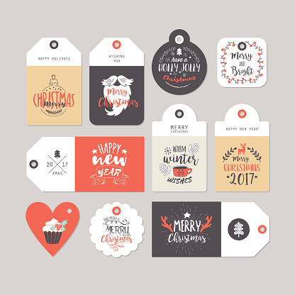 Christmas holiday gift tags set with typography and hand drawing