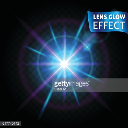 The lens glow effect. Glowing light reflections, realistic  effects bright