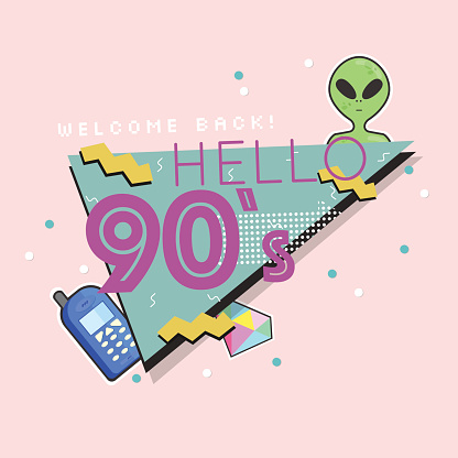 Hello 90's. The 90's style label. Vector illustration.