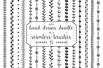 Hand drawn doodle seamless brushes