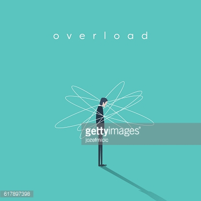 Work or job overload and stress vector concept with businessman