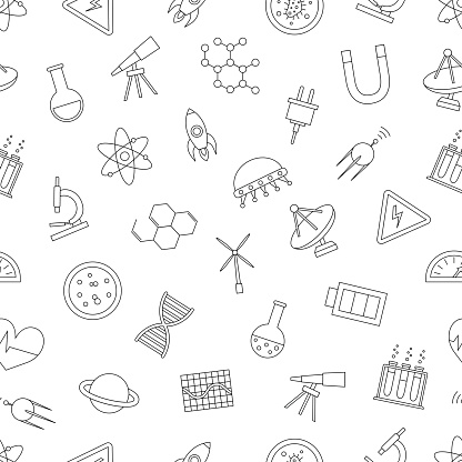 Science icons pattern