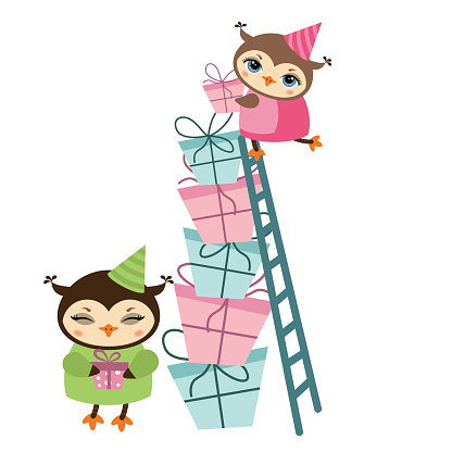 Birthday owl and gifts illustration.