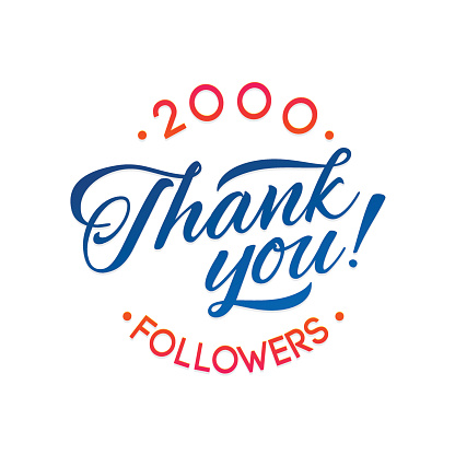 Thank you 2000 followers card. Vector thanks design template for