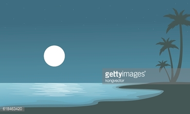 Beach at night with moon of sulhouettes