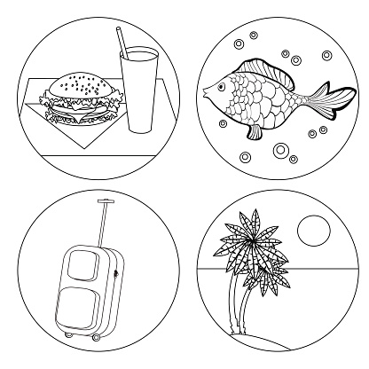 tourism icon set Coloring food, palm, fish, luggage. vector illu