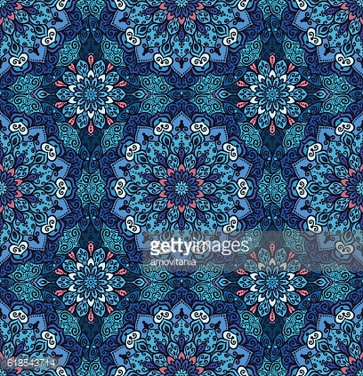 Luxury Blue Pattern Flower Boho