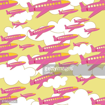 seamless pattern with pink airplanes with clouds. vector illustr