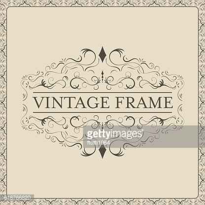Vintage frame with decorative curves and spirals.