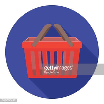 Shopping busket icon in flat style isolated on white background.