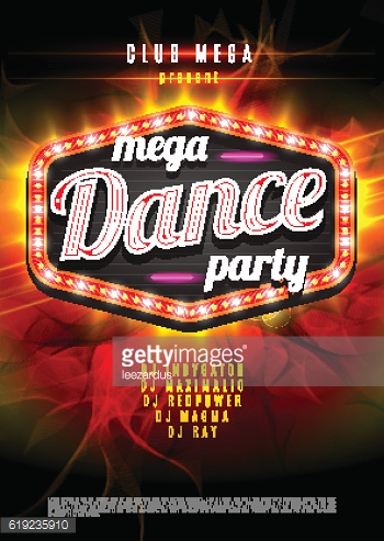 Patry Dance retro display board with lights. Vector Background for