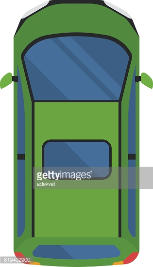 Car top view vector isolated.